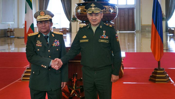 Сергей Шойгу и Мин Аунг Хлайн (главнокомандующий Мьянмы)