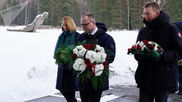 Правительственная делегация Латвии в Саласпилсе