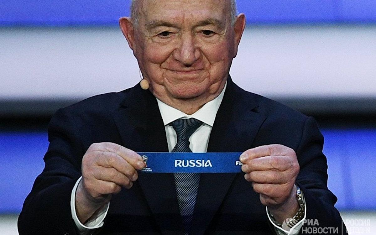 Фото: РИА Новости / Александр Вильф. Никита Симонян на церемонии жеребьевки ЧМ-2018