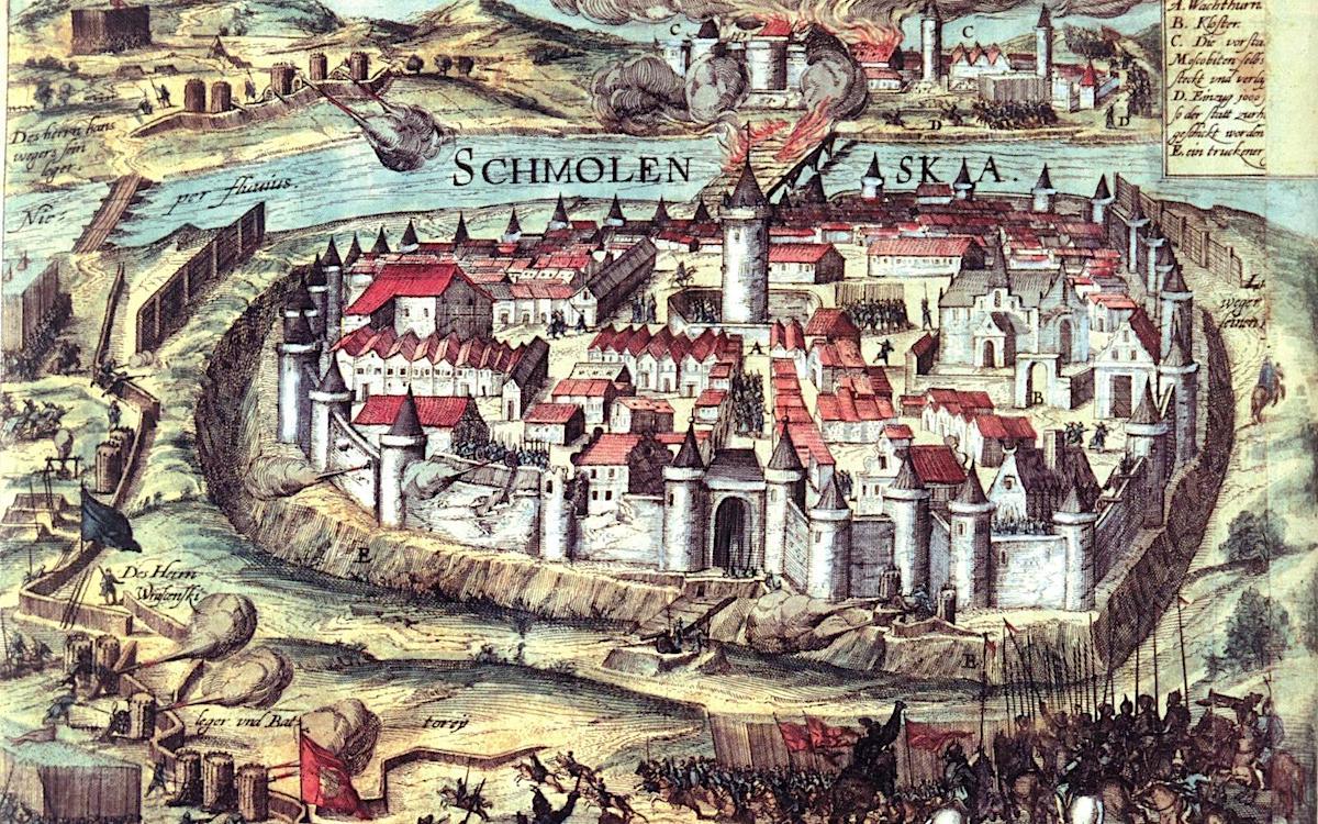 Осада Смоленска войсками Речи Посполитой в 1609-1611 гг. Гравюра